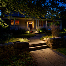 Landscape Lighting adds curb appeal to this house