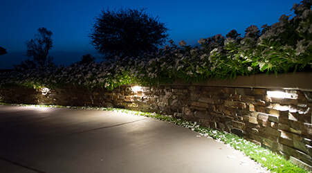 landscape feature with grazed lighting